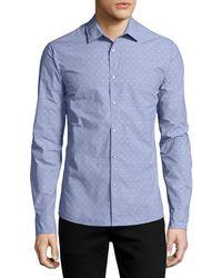 Michael Kors - Dobby-dot Slim Shirt Blue - Lyst