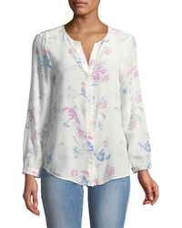 Joie - Purine Button-front Floral Silk Blouse - Lyst