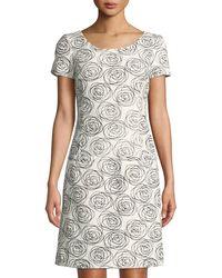 Oscar de la Renta - Short-sleeve Stitched Rose Sheath Dress - Lyst