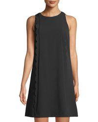 Tahari - Scallop-edge Crepe Dress - Lyst