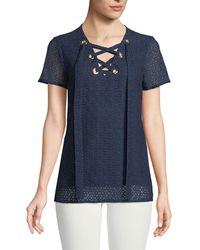 MICHAEL Michael Kors - Lace-up Short-sleeve Lace Tee - Lyst