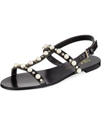 dabd4764c8e44 Lyst - Neiman Marcus Bela Studded Strappy Flat Sandal in Metallic