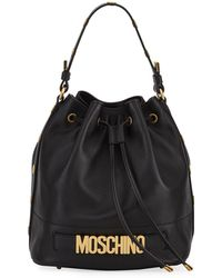 Moschino - Leather Logo Bucket Bag - Lyst