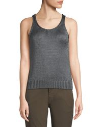 Vince - Cable-knit Silk Crop Tank Top - Lyst