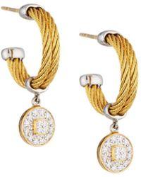 Alor - Classique Steel & 18k Diamond Cable Drop Earrings - Lyst