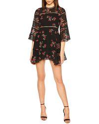 Bardot - Crewneck 3/4-sleeve Poppy-print Mini Dress W/ Lattice Insets - Lyst