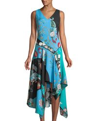 Neiman Marcus - Patchwork Floral V-neck Sharkbite-hem Dress - Lyst