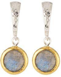 Gurhan - Small Wide Hoop Earrings W/ Labradorite Drop - Lyst