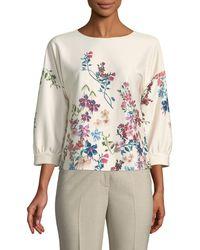 Tahari - Brita Floral Bubble-sleeve Blouse - Lyst