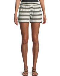 Three Dots | French Terry Double Face Striped Shorts | Lyst