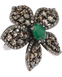Bavna - Silver Flower Ring With Emeralds & Diamonds - Lyst