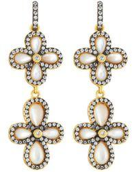 Freida Rothman | Double Pave Clover Drop Earrings | Lyst
