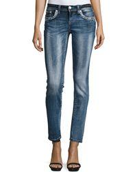 Grace In La | Embroidered Skinny Denim Jeans | Lyst
