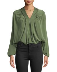 Leon Max - Gathered Silk Blouson Top - Lyst