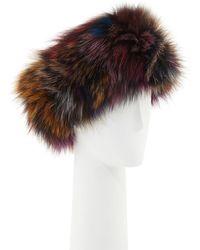 Adrienne Landau - Fur Knitted Headband - Lyst