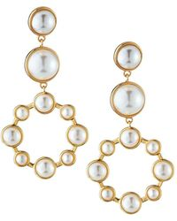 Lydell NYC - Pearly Hoop Drop Earrings - Lyst