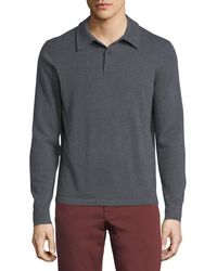 Neiman Marcus - Cashmere Long-sleeve Polo Sweater - Lyst