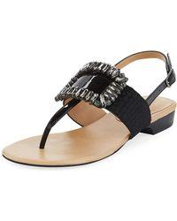 Neiman Marcus - Yaika Embellished Calf Hair Thong Sandals - Lyst