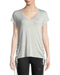 Dex - Laced-side Short-sleeve V-neck Tee - Lyst