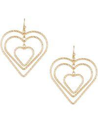 Fragments - Interlocking Heart Drop Earrings - Lyst