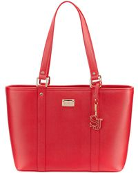 St. John - Textured Faux-leather Zip Tote Bag - Lyst