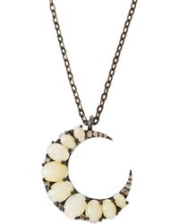 Bavna - Opal Crescent Moon Pendant Necklace - Lyst