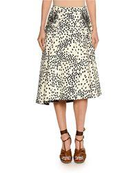 N°21 - Printed Embellished Midi Swing Skirt - Lyst