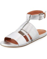 d33c4fb5166a Gentle Souls - Ophelia Easy Flat Metallic Sandal With Stretch Strap - Lyst