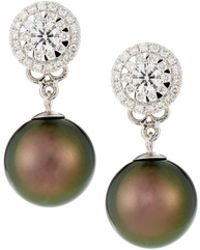 Belpearl - 18k White Gold Diamond-post & Tahitian Pearl Earrings - Lyst