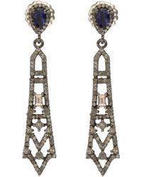 Bavna - Black Silver Open Spike Drop Earrings With Iolite & Diamonds - Lyst