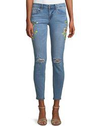 Dex - Floral-print Distressed Skinny Jeans - Lyst