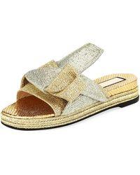 N°21 - Glittered Flat Mule Sandal - Lyst