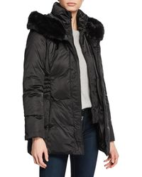 T Tahari - Britney Hooded Puffer Vest With Faux Fur - Lyst