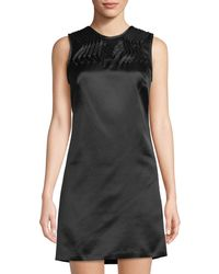 Leon Max - Sleeveless Satin Silk Dress W/ Pleated Yolk - Lyst