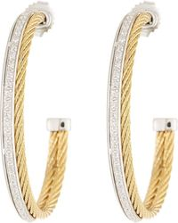 Alor - Classique Diamond Hoop Earrings - Lyst