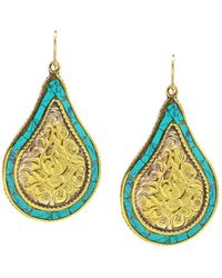 Devon Leigh - Brass & Turquoise Teardrop Earrings - Lyst