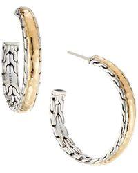 John Hardy - Classic Chain Palu Silver & Gold Hoop Earrings - Lyst