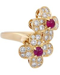 Van Cleef & Arpels - Estate 18k Gold Diamond & Ruby Crossover Ring Size 5.25 - Lyst