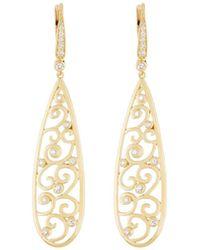 Penny Preville - 18k Long Open Scroll Drop Earrings W/ Diamonds - Lyst