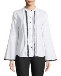 Karl Lagerfeld - Crochet-loop Button-front Blouse - Lyst