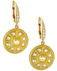 Penny Preville - 18k Gold Round Rose-cut Diamond Drop Earrings With New Prong Top - Lyst