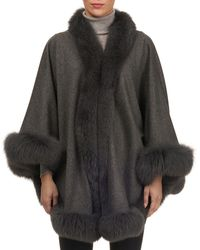 Gorski - Wool Caplet With Fox Fur Trim - Lyst