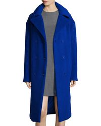 DKNY - Double-breasted Brushed Llama Hair Coat - Lyst