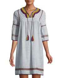 Neiman Marcus - Embroidered Peasant Shift Dress - Lyst