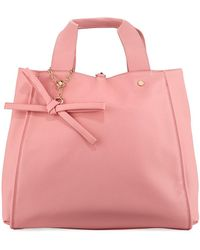 Neiman Marcus - Faux-saffiano Top-handle Tote Bag With Bow - Lyst