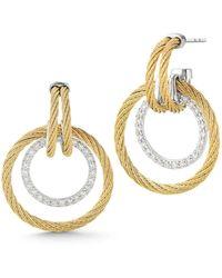 Alor - Double Cable Diamond Hoop Drop Earrings - Lyst
