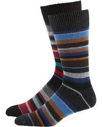 Punto - Men's Striped Knit Socks Two-pack Black/gray - Lyst