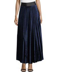Goldie London - Pleated Velvet Maxi Skirt - Lyst
