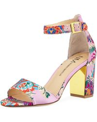 Neiman Marcus - Amaranta Floral Satin Sandal - Lyst