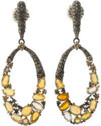 Bavna - Black Silver Open Oval Drop Earrings With Compressed Opal & Diamonds - Lyst